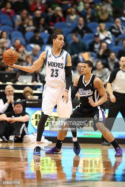 Kevin Martin of the Minnesota Timberwolves handles the ball against the Sacramento Kings on March 16 2014 at Target Center in Minneapolis Minnesota...