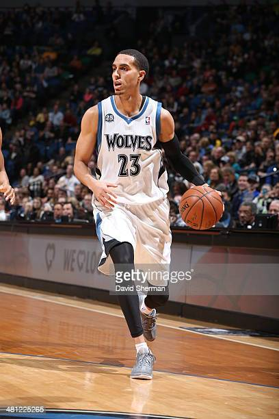 Kevin Martin of the Minnesota Timberwolves handles the ball against the Los Angeles Lakers on March 28 2014 at Target Center in Minneapolis Minnesota...