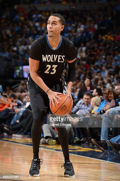 Kevin Martin of the Minnesota Timberwolves handles the ball against the Denver Nuggets on October 30 2015 at the Pepsi Center in Denver Colorado NOTE...