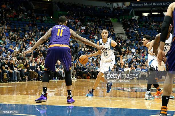Kevin Martin of the Minnesota Timberwolves handles the ball during the game against the Phoenix Suns on January 17 2016 at Target Center in...