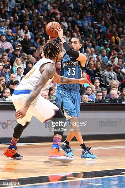 Kevin Martin of the Minnesota Timberwolves handles the ball during the game against the New York Knicks on February 20 2016 at Target Center in...
