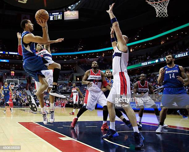 Kevin Martin of the Minnesota Timberwolves puts up a shot against the Washington Wizards during the first half at Verizon Center on November 19 2013...