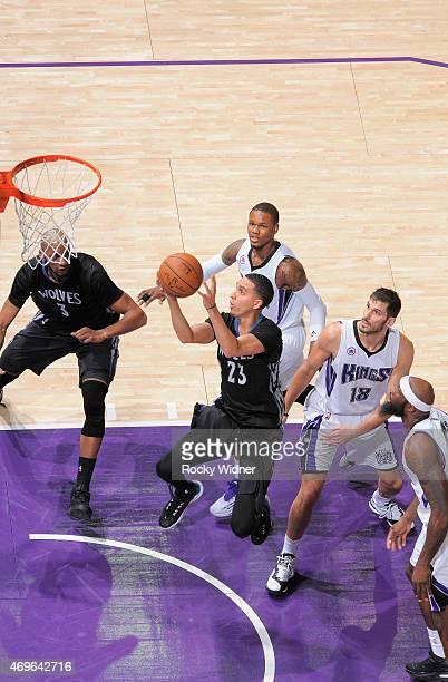 Kevin Martin of the Minnesota Timberwolves shoots a layup against the Sacramento Kings on April 7 2015 at Sleep Train Arena in Sacramento California...