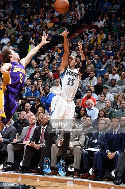 Kevin Martin of the Minnesota Timberwolves shoots against Anthony Brown of the Los Angeles Lakers during the game on December 9 2015 at Target Center...