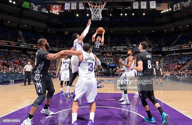 Kevin Martin of the Minnesota Timberwolves shoots against Jason Thompson of the Sacramento Kings on April 7 2015 at Sleep Train Arena in Sacramento...