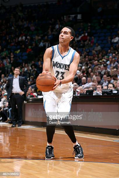 Kevin Martin of the Minnesota Timberwolves shoots against the Boston Celtics on January 28 2015 at Target Center in Minneapolis Minnesota NOTE TO...