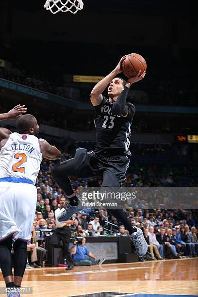 Kevin Martin of the Minnesota Timberwolves shoots against the New York Knicks on March 5 2014 at Target Center in Minneapolis Minnesota NOTE TO USER...