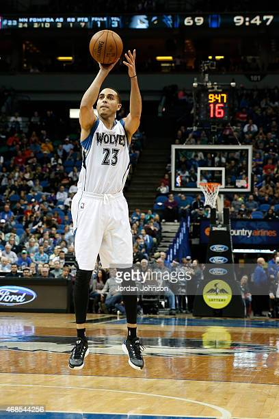 Kevin Martin of the Minnesota Timberwolves shoots against the Orlando Magic during the game on April 3 2015 at American Airlines Center in...