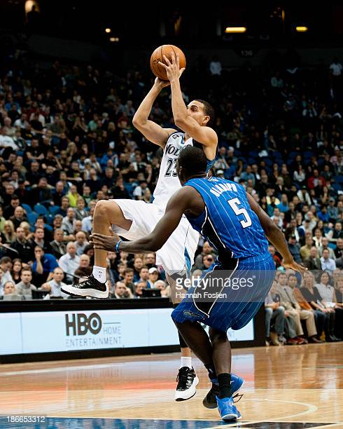 Kevin Martin of the Minnesota Timberwolves shoots the ball against Victor Oladipo of the Orlando Magic during the game on October 30 2013 at Target...