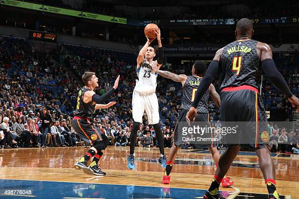 Kevin Martin of the Minnesota Timberwolves shoots the ball against the Atlanta Hawks on November 25 2015 at Target Center in Minneapolis Minnesota...