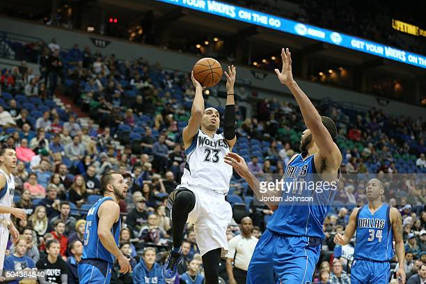 Kevin Martin of the Minnesota Timberwolves shoots the ball against the Dallas Mavericks on January 10 2016 at Target Center in Minneapolis Minnesota...