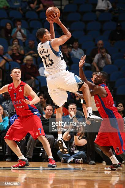 Kevin Martin of the Minnesota Timberwolves shoots the ball during the preseason game against CSKA Moscow on October 7 2013 at Target Center in...