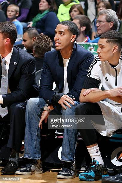 Kevin Martin of the Minnesota Timberwolves sits on the sideline during a game against the Sacramento Kings on November 22 2014 at Target Center in...