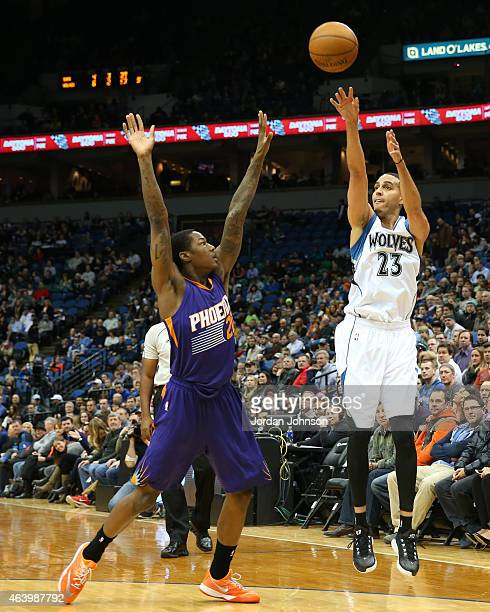 Kevin Martin of the Minnesota Timberwolves takes a shot against the Phoenix Suns during the game on February 20 2015 at Target Center in Minneapolis...