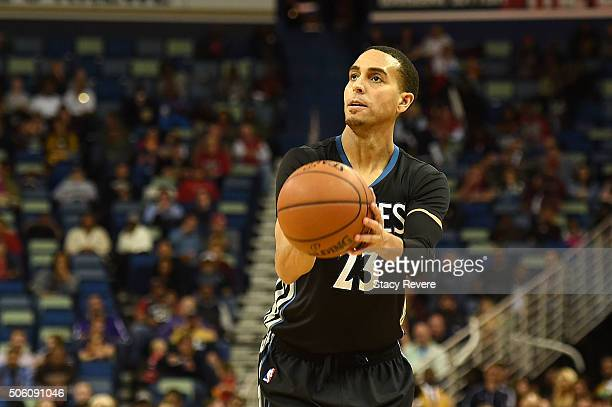 Kevin Martin of the Minnesota Timberwolves takes a shot during the second half of a game against the New Orleans Pelicans at the Smoothie King Center...