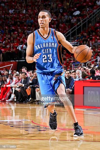 Kevin Martin of the Oklahoma City Thunder advances the ball against the Houston Rockets in Game Four of the Western Conference Quarterfinals during...
