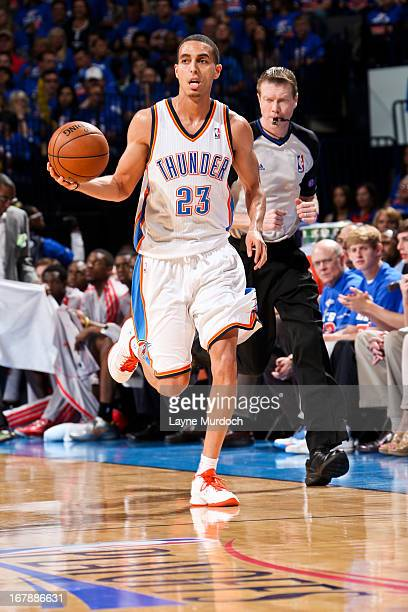 Kevin Martin of the Oklahoma City Thunder advances the ball against the Houston Rockets in Game Five of the Western Conference Quarterfinals during...