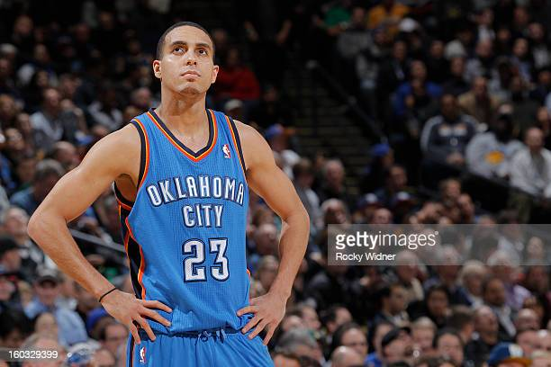 Kevin Martin of the Oklahoma City Thunder against the Golden State Warriors on January 23 2013 at Oracle Arena in Oakland California NOTE TO USER...