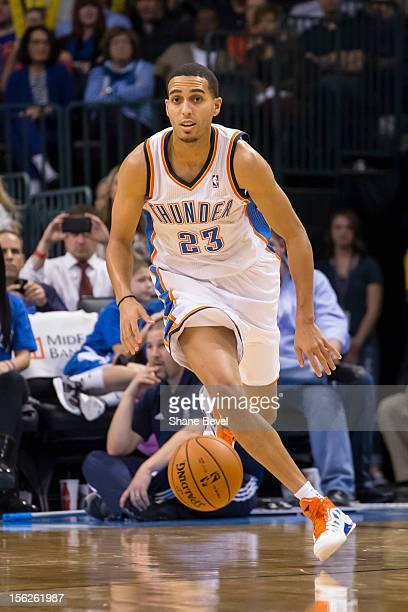 Kevin Martin of the Oklahoma City Thunder drives downcourt against the Toronto Raptors during the NBA basketball game on November 6 2012 at the...