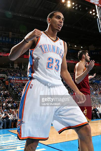 Kevin Martin of the Oklahoma City Thunder gets excited vs the Cleveland Cavaliers during an NBA game on November 11 2012 at the Chesapeake Energy...