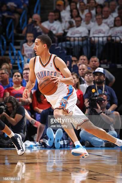 Kevin Martin of the Oklahoma City Thunder handles the ball against the Memphis Grizzlies in Game Two of the Western Conference Semifinals during the...