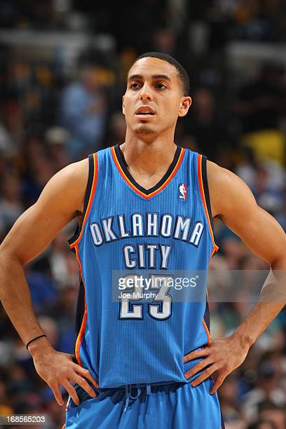 Kevin Martin of the Oklahoma City Thunder looks on in Game Three of the Western Conference Semifinals against the Memphis Grizzlies during the 2013...