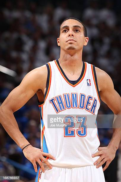 Kevin Martin of the Oklahoma City Thunder looks on in Game Two of the Western Conference Semifinals against the Memphis Grizzlies during the 2013 NBA...