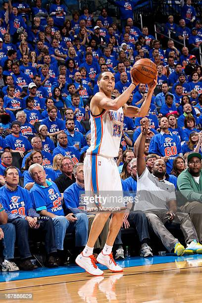 Kevin Martin of the Oklahoma City Thunder shoots a threepointer against the Houston Rockets in Game Five of the Western Conference Quarterfinals...
