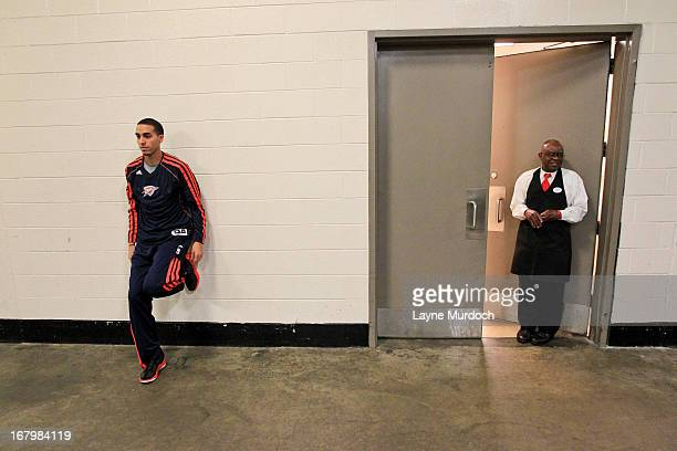 Kevin Martin of the Oklahoma City Thunder stretches outside the visitor locker room before playing the Houston Rockets in Game Six of the Western...
