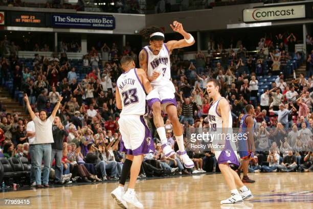 Kevin Martin of the Sacramento Kings and Mikki Moore of the Sacramento Kings celebrate a play against the New York Knicks on November 16 2007 at ARCO...