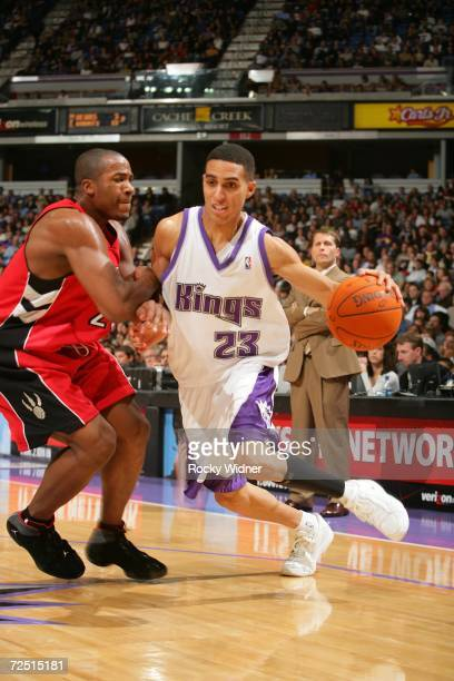 Kevin Martin of the Sacramento Kings drives to the basket against Fred Jones of the Toronto Raptors on November 12 2006 at ARCO Arena in Sacramento...