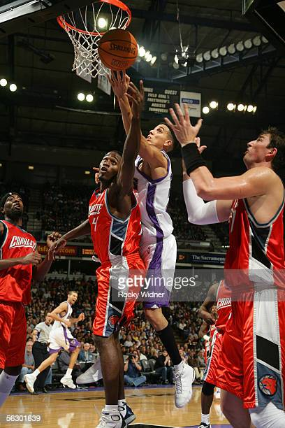 Kevin Martin of the Sacramento Kings drives to the basket against the Charlotte Bobcats on November 29 2005 at the ARCO Arena in Sacramento...
