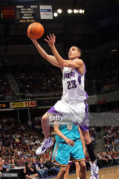 Kevin Martin of the Sacramento Kings gets to the basket against the New Orleans/Oklahoma City Hornets on February 5 2007 at ARCO Arena in Sacramento...