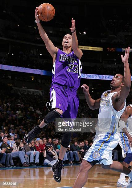 Kevin Martin of the Sacramento Kings goes to the basket against the Denver Nuggets on February 1 2010 at the Pepsi Center in Denver Colorado NOTE TO...