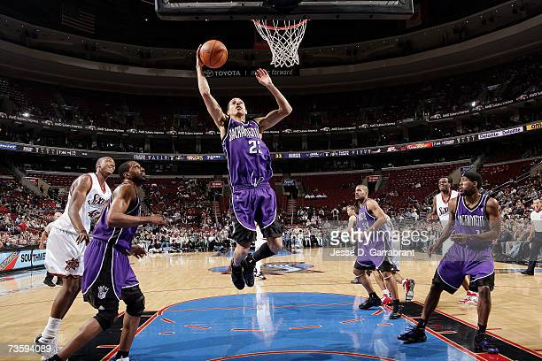 Kevin Martin of the Sacramento Kings grabs a rebound against the Philadelphia 76ers during the game at Wachovia Center on February 26 2007 in...