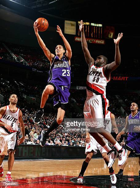 Kevin Martin of the Sacramento Kings lays up the ball against Zach Randolph of the Portland Trail Blazers on January 12 2007 at the Rose Garden in...