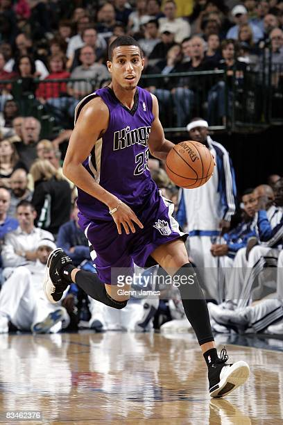 Kevin Martin of the Sacramento Kings moves the ball up court during a preseason game against the Dallas Mavericks at American Airlines Center on...