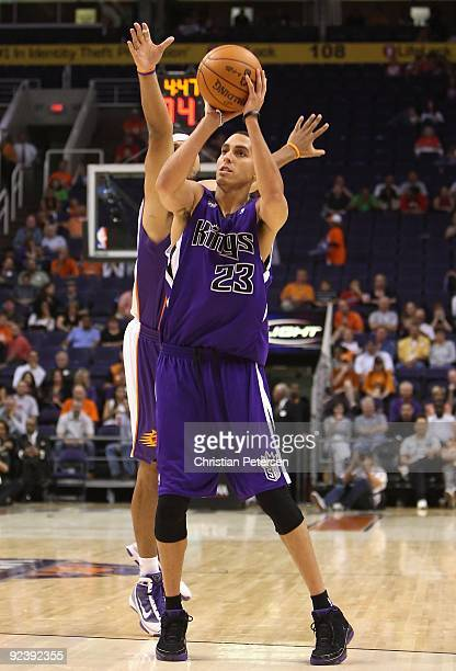 Kevin Martin of the Sacramento Kings puts up a shot against the Phoenix Suns during the NBA preseason game at US Airways Center on October 20 2009 in...