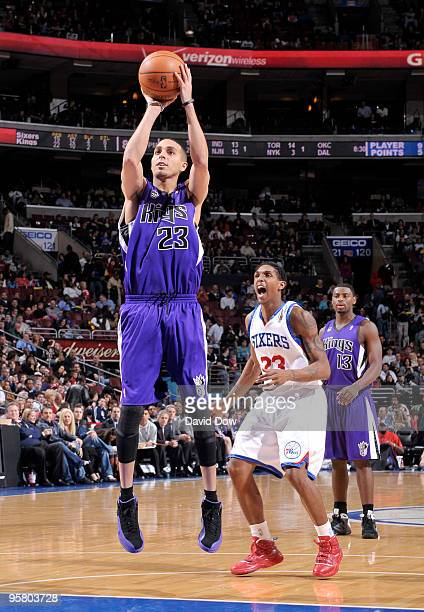 Kevin Martin of the Sacramento Kings shoots the basketball against Lou Williams of the Philadelphia 76ers on January 15 2010 at the Wachovia Center...