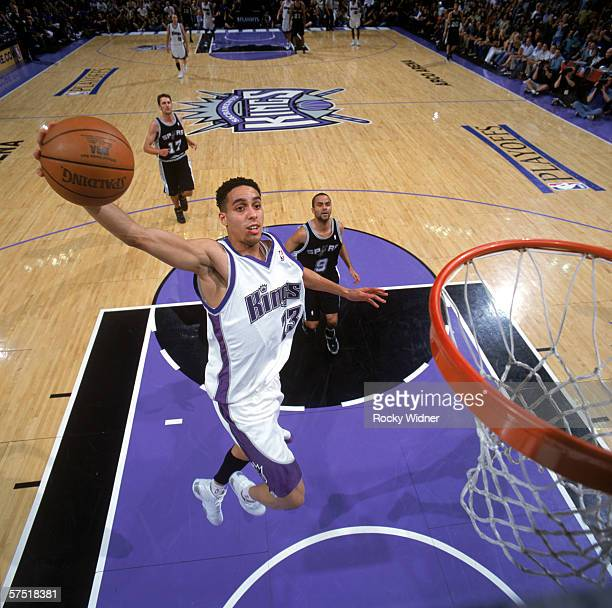 Kevin Martin of the Sacramento Kings takes the ball to the basket against the San Antonio Spurs in game three of the Western Conference Quarterfinals...
