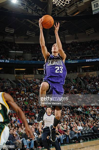 Kevin Martin of the Sacramento Kings takes the ball to the basket against the Seattle SuperSonics during the game at Key Arena on November 24 2006 in...