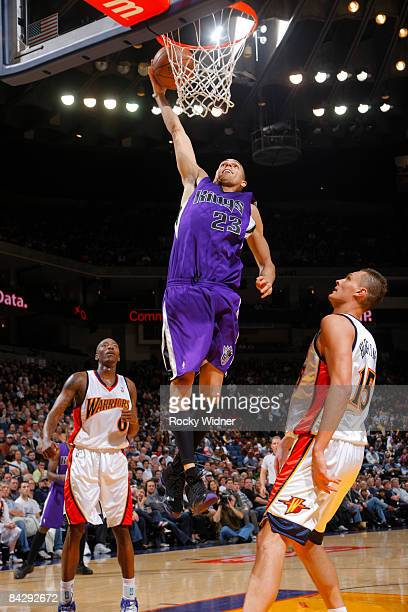 Kevin Martin of the Sacramento Kings takes the ball to the basket against the Golden State Warriors on January 14 2009 at Oracle Arena in Oakland...