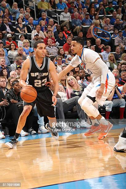Kevin Martin of the San Antonio Spurs drives to the basket against the Oklahoma City Thunder during the game on March 26 2016 at Chesapeake Energy...