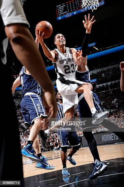 Kevin Martin of the San Antonio Spurs goes for the layup during the game against the Oklahoma City Thunder in Game One of the Western Conference...