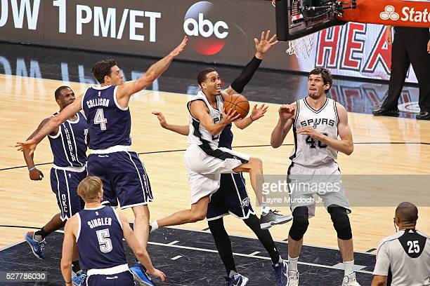 Kevin Martin of the San Antonio Spurs goes to the basket against the Oklahoma City Thunder in Game One of the Western Conference Semifinals during...