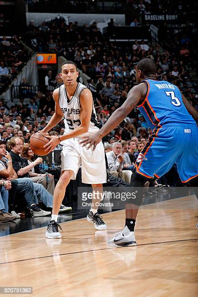 Kevin Martin of the San Antonio Spurs handles the ball during the game against the Oklahoma City Thunder on April 12 2016 at the ATT Center in San...