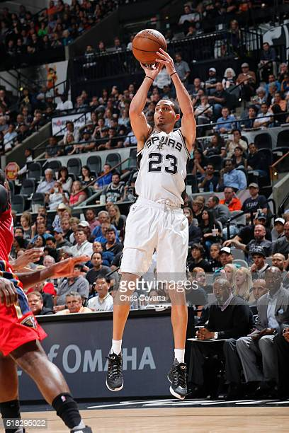 Kevin Martin of the San Antonio Spurs shoots against the New Orleans Pelicans during the game on March 30 2016 at ATT Center in San Antonio Texas...