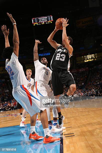 Kevin Martin of the San Antonio Spurs shoots against the Oklahoma City Thunder during the game on March 26 2016 at Chesapeake Energy Arena in...