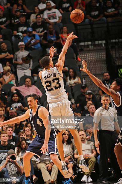 Kevin Martin of the San Antonio Spurs shoots the ball against the Oklahoma City Thunder in Game One of the Western Conference Semifinals during the...