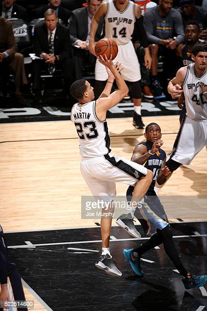 Kevin Martin of the San Antonio Spurs shoots the ball during the game against the Memphis Grizzlies in Game Two of the Western Conference...